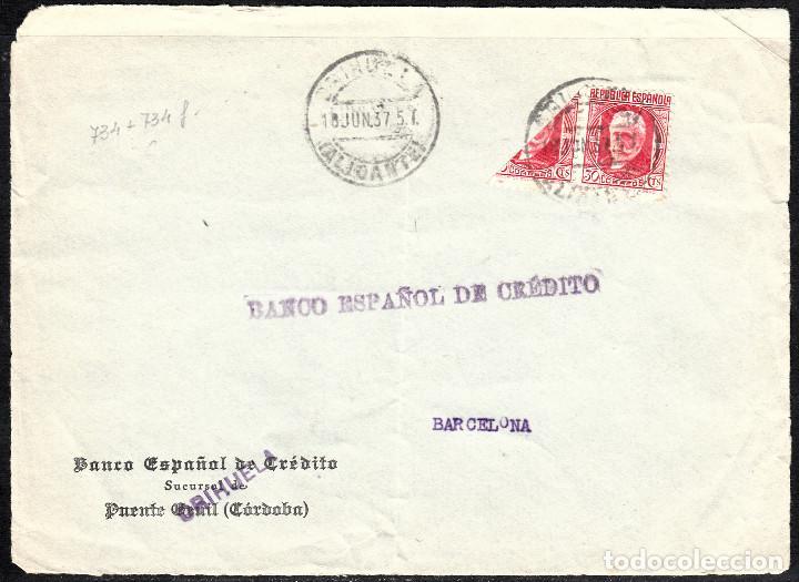 FRONTAL CARTA CON BISECTADO Y MATASELLOS DE ORIHUELA (Sellos - España - II República de 1.931 a 1.939 - Cartas)