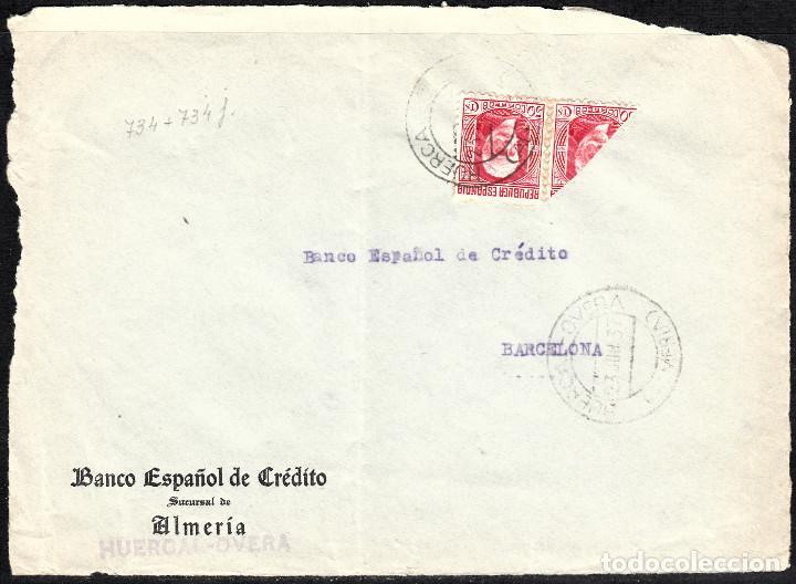 FRONTAL CARTA CON BISECTADO Y MATASELLOS DE HUERCAL OVERA (Sellos - España - II República de 1.931 a 1.939 - Cartas)