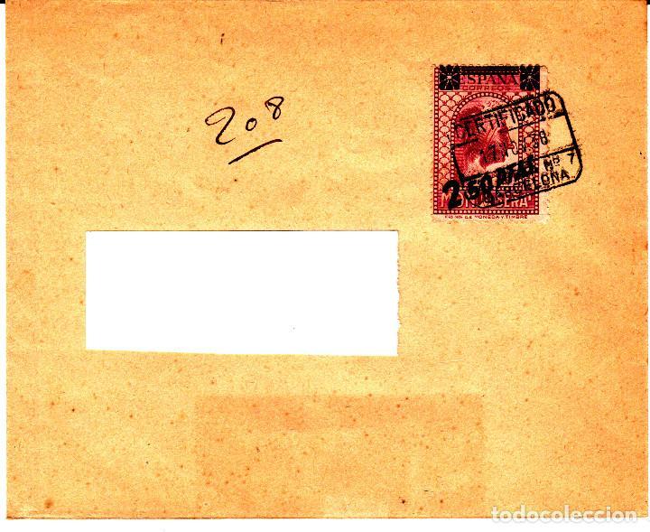 CARTA AÑO 1938 CON SELLO NUM 791 Y MATASELLOS CERTIFICADO DE BARCELONA --MUY DIFÍCIL EN CARTA-- (Sellos - España - II República de 1.931 a 1.939 - Cartas)