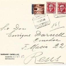 Sellos: SOBRE DE BARCELONA A REUS CERTIFICADO CON DOS SELLOS DEL NUM.741 Y 1 SELLO AYUNTAMIENTO BARCELONA. Lote 99532035