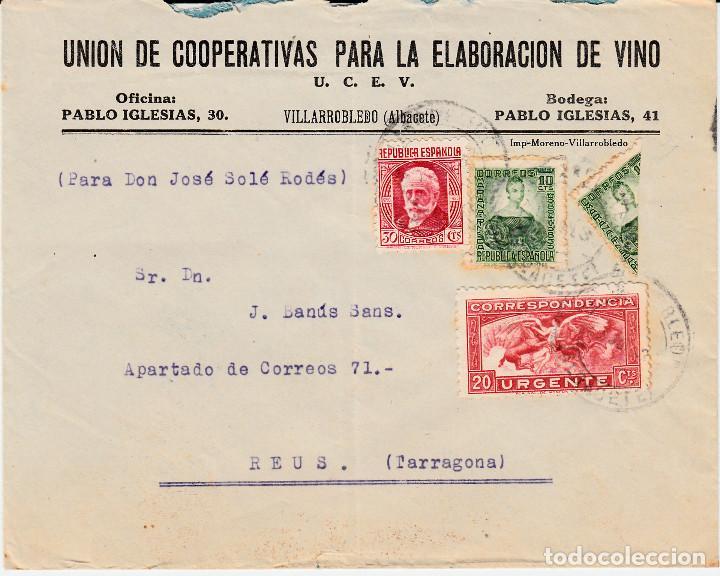 SOBRE DE UNION DE COOP. ELABORACION VINO EN VILLARROBLEDO-ALBACETE- CON BISECTADO (Sellos - España - II República de 1.931 a 1.939 - Cartas)