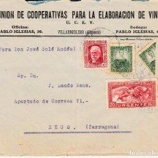 Sellos: SOBRE DE UNION DE COOP. ELABORACION VINO EN VILLARROBLEDO-ALBACETE- CON BISECTADO. Lote 99532919