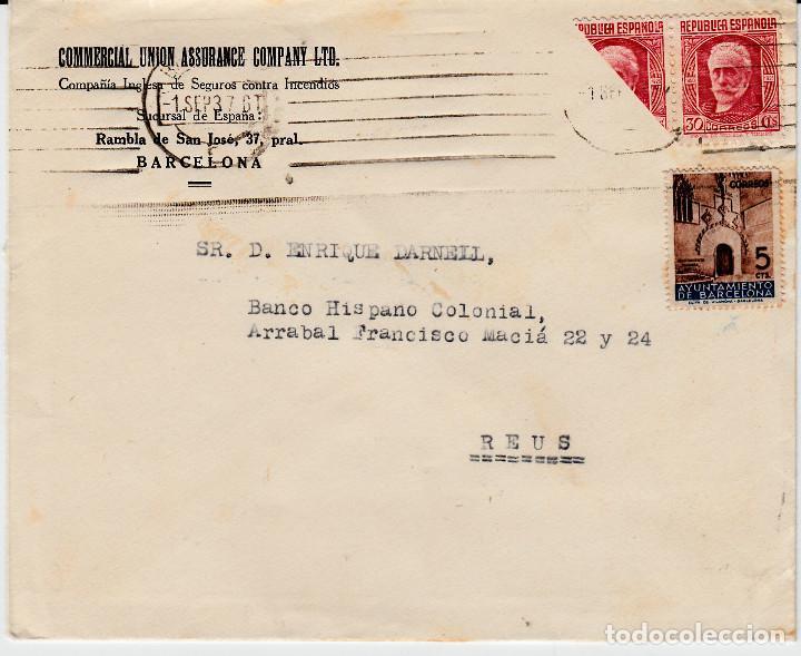 SOBRE CON SELLO NUM 734 BISECTADO DESTINO REUS (Sellos - España - II República de 1.931 a 1.939 - Cartas)