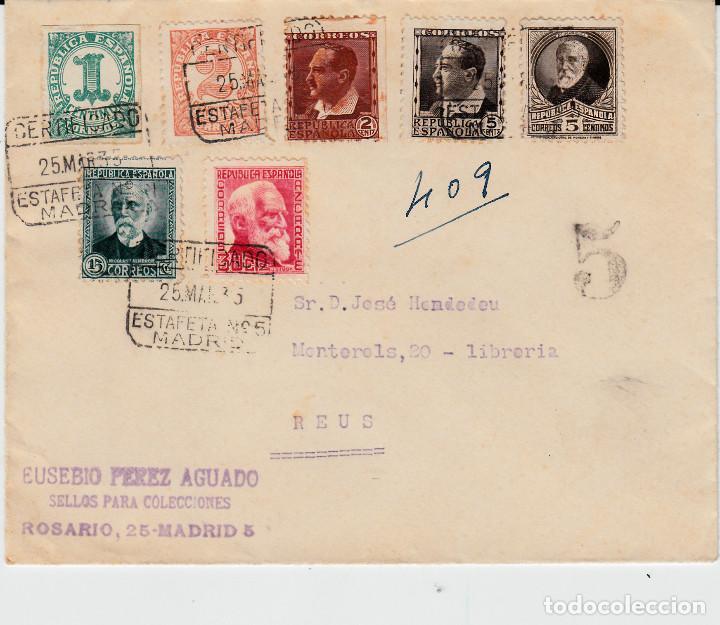 SOBRE CON 7 SELLOS DISTINTOS DE LA REPÚBLICA CON MATASELLOS DE CERTIFICADO ESTAFETA 5 MADRID (Sellos - España - II República de 1.931 a 1.939 - Cartas)