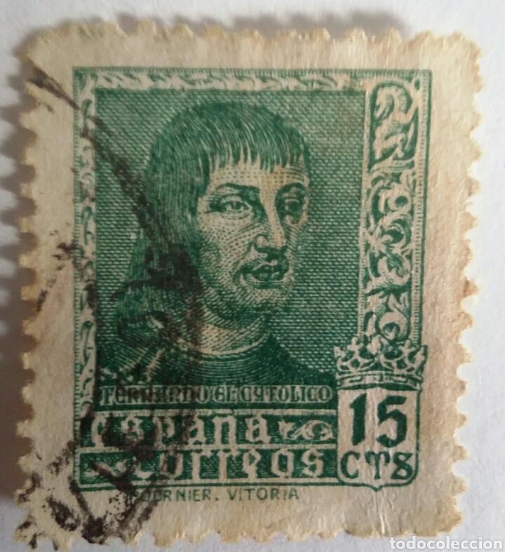 Sellos: SELLO 1938 FERNANDO EL CATÓLICO. 15 CTS. IMPRENTA FOURNIER VITORIA - Foto 2 - 100035783