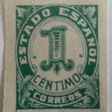 Sellos: SELLO 1937 ESTADO ESPAÑOL. SIN DENTAR. 1 CTS. DE HIJA DE F. FOURNIER BURGOS. S/C. Lote 100037382