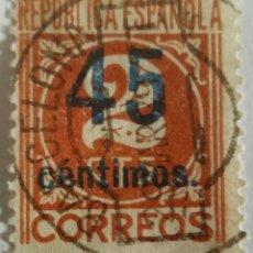 Sellos: SELLO BARCELONA. REPÚBLICA ESPAÑOLA. 2 CTS. HABILITADO CON SOBRE CARGA DE 45 CTS. . Lote 100041312