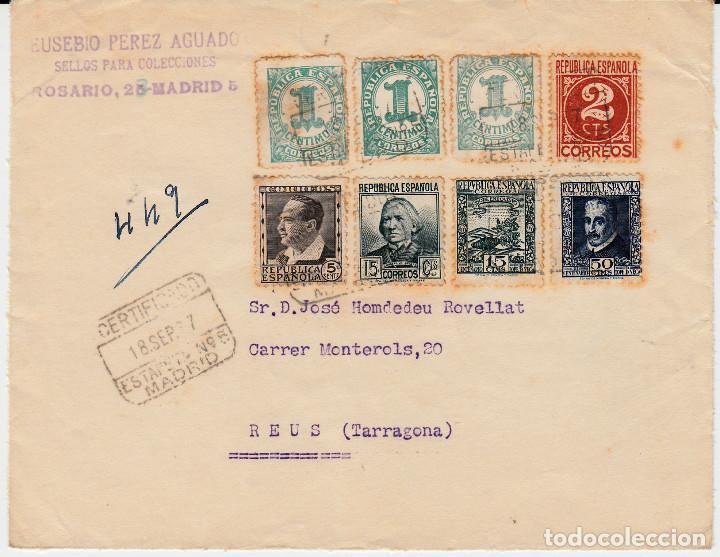 FRONTAL CON SELLOS NUMS 678-681-683-690-692 Y 677DP (3) DENTADO ORIGEN PRIVADO PARA USO POSTAL (Sellos - España - II República de 1.931 a 1.939 - Cartas)