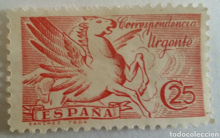 SELLO CORRESPONDENCIA URGENTE. PEGASO 25 CTS. (Sellos - España - II República de 1.931 a 1.939 - Usados)