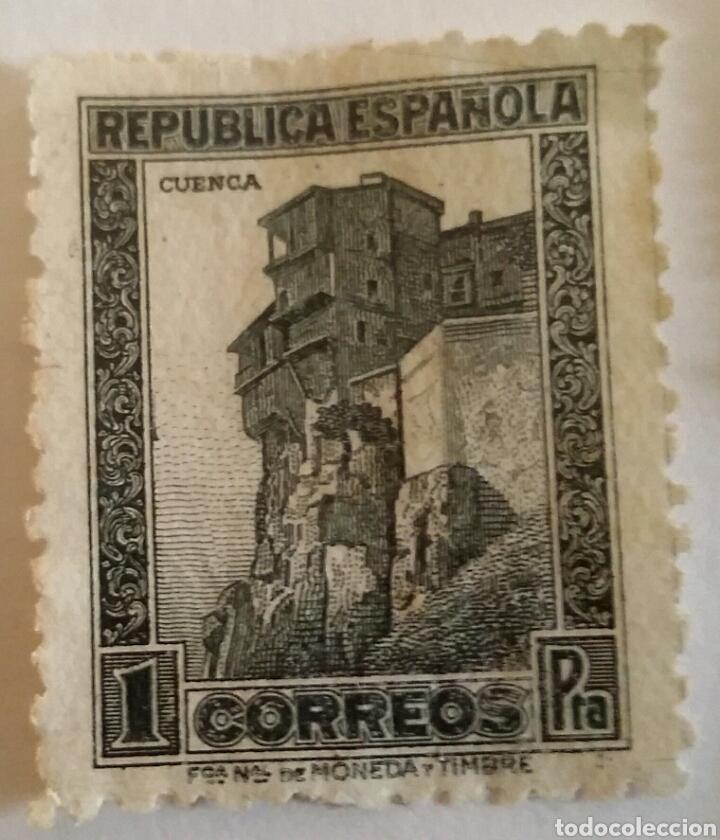 SELLO 1 PTA. CUENCA. REPÚBLICA ESPAÑOLA (Sellos - España - II República de 1.931 a 1.939 - Usados)
