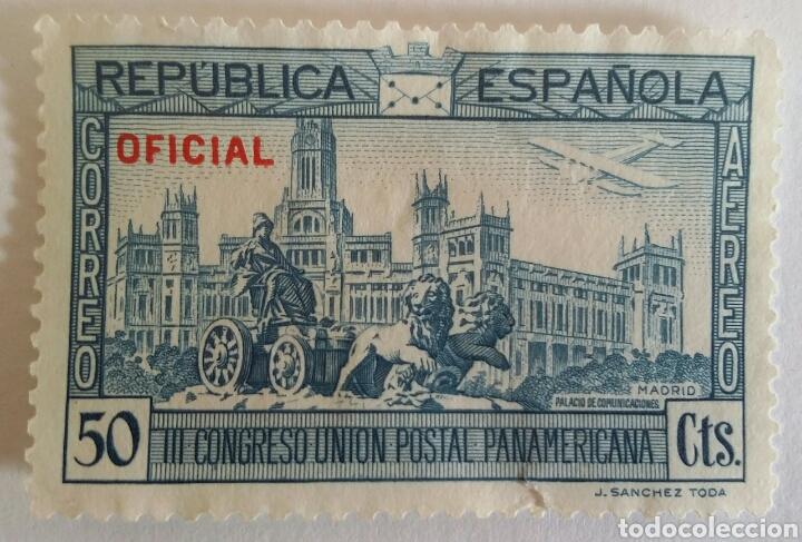 SELLO 1931 PLAZA SE CIBELES Y EL PALACIO DE COMUNICACIONES. III CONGRESO UNIÓN POSTAL PANAMERICANA (Sellos - España - II República de 1.931 a 1.939 - Usados)