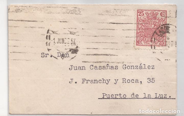 1932 SOBRE CIRCULADO A PUERTO DE LA LUZ SELLO 25C ESPECIAL MOVIL (Sellos - España - II República de 1.931 a 1.939 - Cartas)