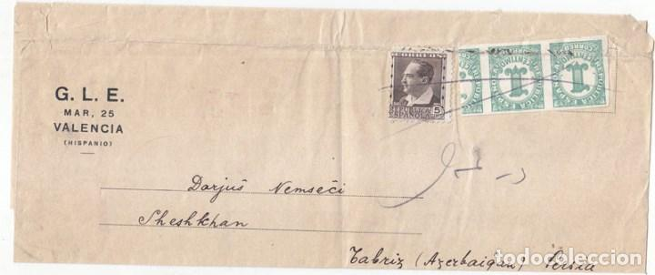 FAJA DE G.L.E. (CREO QUE GRAN LOGIA ESPAÑOLA). VALENCIA A PERSIA. RARÍSIMO DESTINO. AZERBAYAN. (Sellos - España - II República de 1.931 a 1.939 - Cartas)