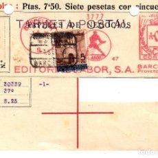 Sellos: CARTA REEMBOLSO CERTIFICADO REPÚBLICA 1936 FR. MECANICO EDITORIAL LABOR SELLO AYUNT .BARCELONA. Lote 103439967