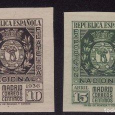 Sellos: II REPÚBLICA ESPAÑOLA-SERIE COMPLETA EXPOSICIÓN NACIONAL FILATÉLICA DE MADRID-1936--EDIFIL Nº 727/72. Lote 103731731