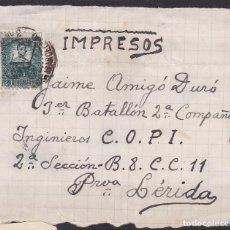 Sellos: YY2- GUERRA CIVIL. BONITO FRONTAL DIRIGIDO A INGENIEROS COPI. EN LÉRIDA.1938. Lote 104293227