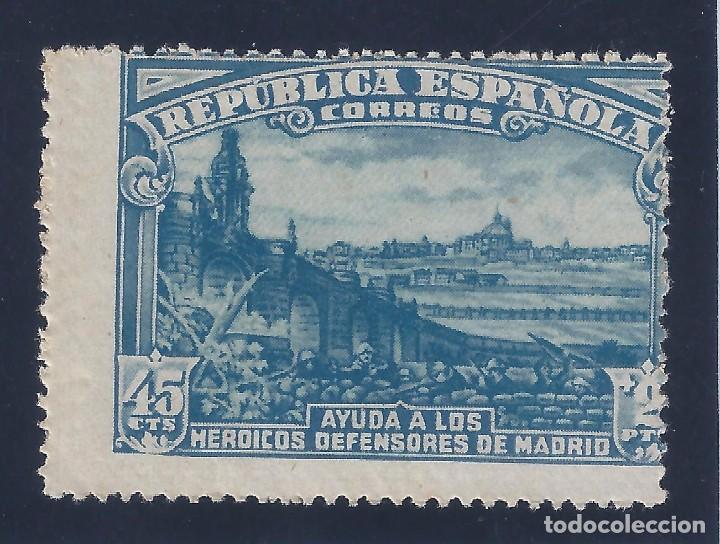 EDIFIL 757 DEFENSA DE MADRID 1938 (VARIEDAD...DENTADO VERTICAL Y HORIZONTAL MUY DESPLAZADO). MH * (Sellos - España - II República de 1.931 a 1.939 - Nuevos)