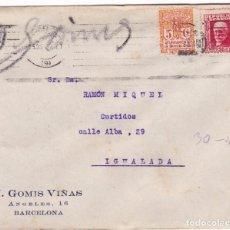Sellos: F22-13-CARTA PUBLICITARIA GOMIS VIÑAS BARCELONA 1933. DORSO VIÑETA AJUT PRO INFENCIA. Lote 105108695