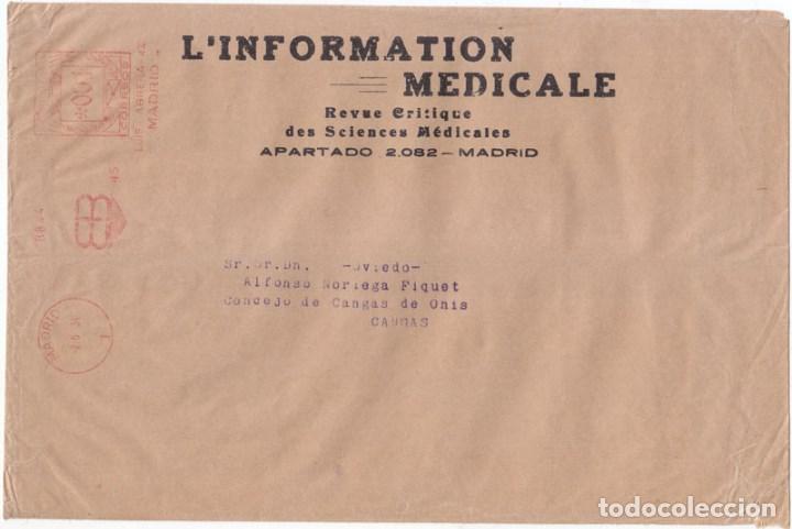 SOBRE CON FRANQUEO MECÁNICO EB MADRID. 1934. MEMBRETE DE LA REVISTA L INFORMATION MEDICALE. (Sellos - España - II República de 1.931 a 1.939 - Cartas)