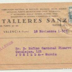Sellos: CARTA CON MEMBRETE DE VALENCIA A JUMILLA DEL 18 NOV. 1935. FRANQUEADO CON 15 CTS. VERDE.. Lote 106922247