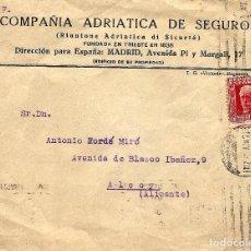 Sellos: CIRCULADA COMPAÑÍA ADRIÁTICA DE SEGUROS (MADRID) A ALCOY - MATASELLOS ALCOY - NOVIEMBRE 1932. Lote 107004603