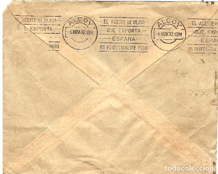 Sellos: CIRCULADA COMPAÑÍA ADRIÁTICA DE SEGUROS (MADRID) A ALCOY - MATASELLOS ALCOY - NOVIEMBRE 1932 - Foto 2 - 107004603