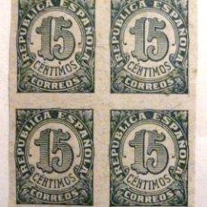 Sellos: SELLOS DE ESPAÑA 1938. CIFRAS. 15 CTS. BLOQUE DE CUATRO. NUEVOS. SIN DENTAR. EDIFIL 747.. Lote 107279931