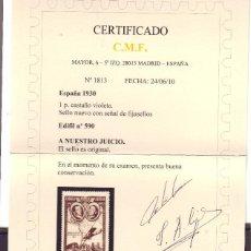 Sellos: +EDIFIL 590 NUEVO CON FIJASELLOS. CERTIFICADO CMF VC 150 EUROS. Lote 107828295