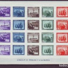 Sellos: AÑO 1938. HOJITA EDIFIL 850** MNH. EJERCITO Y MARINA. VC 340 EUROS. Lote 107832943