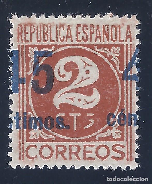 EDIFIL 744 CIFRAS 1938 (VARIEDADES...HABILITACIÓN A CABALLO Y ROTA LA S DE CTS) LUJO. MNH ** (Sellos - España - II República de 1.931 a 1.939 - Nuevos)