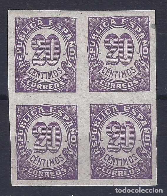 EDIFIL 748S CIFRAS 1938. BLOQUE DE 4 SIN DENTAR (VARIEDAD...MANCHA BLANCA. VER DESCRIPCIÓN). LUJO. (Sellos - España - II República de 1.931 a 1.939 - Nuevos)