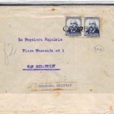 Sellos: Nº 670 X2. CARTA DIRIGIDA EN 1937 A SAN SEBATIÁN. MATASELLO LINEAL CORREOS. CENSURA MILITAR CON ETIQ. Lote 109528887