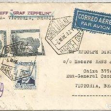 Sellos: SEGUNDA REPUBLICA CC ZEPPELIN BARCELONA A VICTORIA BRASIL 1933 MAT HEXAGONAL Y MARCA ESPECIAL DEL VU. Lote 109905759