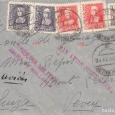 Sellos: AÑO 1939.- Nº 816+857 X2+858 X2. CARTA DE PALMA DE MALLORCA A SUIZA. MARCAS EN ROJO DE CENSURA Y PAR. Lote 110288307