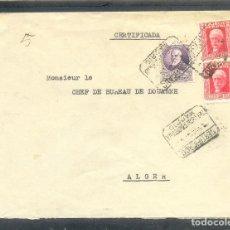 Sellos: 1934. SOBRE CERTIFICADO CIRCULADO DE MADRID A ALGER. RARO MATASELLOS SECCION NOCTURNA.. Lote 110312807