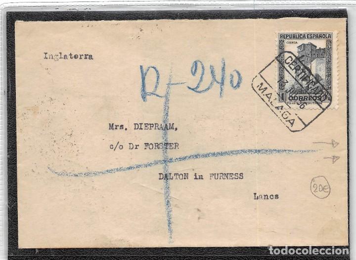 AÑO 1936. Nº 673.- CARTA CERTIFICADA DE MÁLAGA A INGLATERRA CON LA MARCA.-NO CONTIENE BILLETES- (Sellos - España - II República de 1.931 a 1.939 - Cartas)