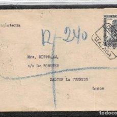Timbres: AÑO 1936. Nº 673.- CARTA CERTIFICADA DE MÁLAGA A INGLATERRA CON LA MARCA.-NO CONTIENE BILLETES-. Lote 110320227