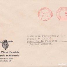 Sellos: CARTA DE FRANKFURT A JEREZ, CON MEMBRETE DE LA CAMARA DE COMERCIO EN ALEMANIA. Lote 110886551