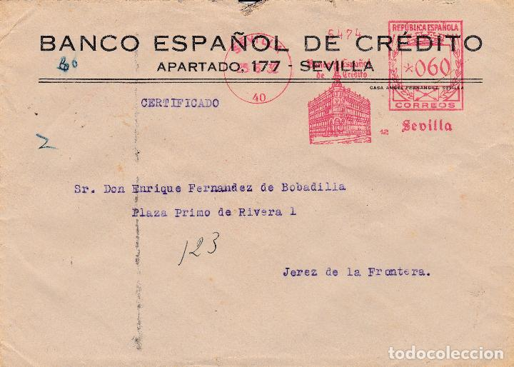 SOBRE DE SEVILLA A JEREZ CON FRANQUEO MECANICO DE BANESTO DE 0'60 DE 1932. (Sellos - España - II República de 1.931 a 1.939 - Cartas)