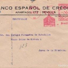 Sellos: SOBRE DE SEVILLA A JEREZ CON FRANQUEO MECANICO DE BANESTO DE 0'60 DE 1932.. Lote 110886847