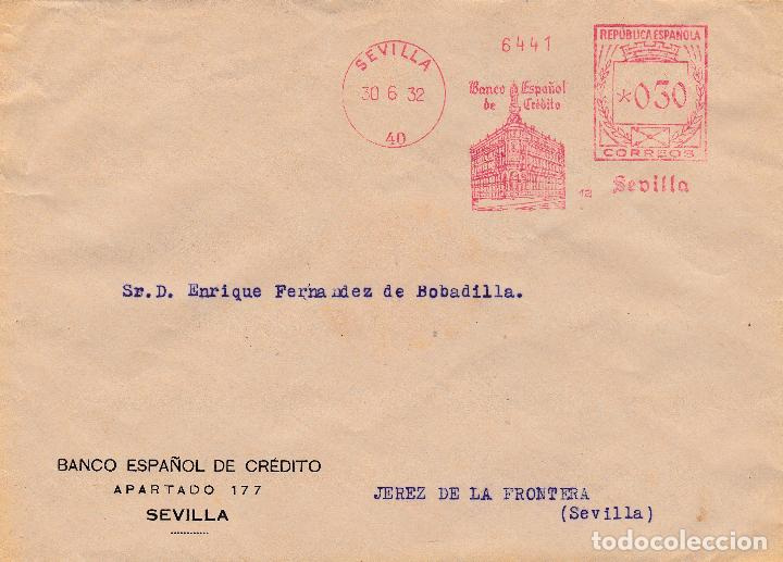 SOBRE DE SEVILLA A JEREZ CON FRANQUEO MECANICO DE BANESTO DE 0'30 DE 1932. (Sellos - España - II República de 1.931 a 1.939 - Cartas)