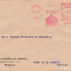 Sellos: SOBRE DE SEVILLA A JEREZ CON FRANQUEO MECANICO DE BANESTO DE 0'30 DE 1932.. Lote 110886915