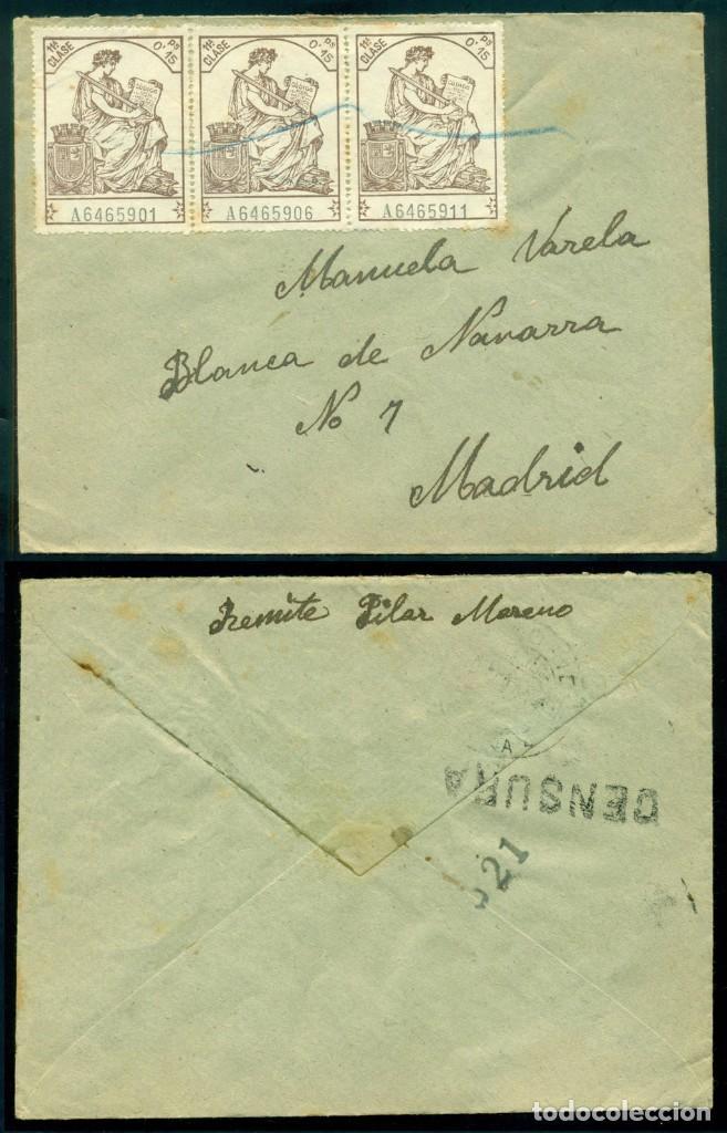CARTA SEGUNDA REPÚBLICA ESPAÑOLA - FRANQUEO FISCALES TIRA DE TRES - RARA PIEZA A MADRID (Sellos - España - II República de 1.931 a 1.939 - Cartas)