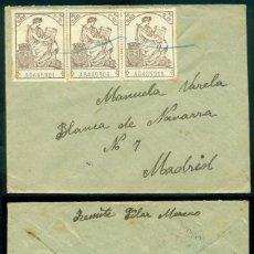Selos: CARTA SEGUNDA REPÚBLICA ESPAÑOLA - FRANQUEO FISCALES TIRA DE TRES - RARA PIEZA A MADRID. Lote 112163639