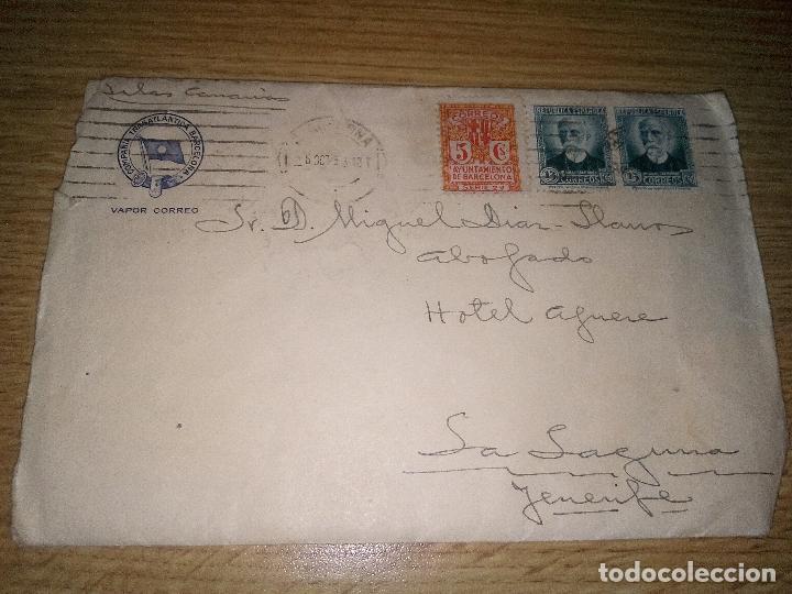 SOBRE DE LA COMPAÑÍA TRASATLÁNTICA ESPAÑOLA (Sellos - España - II República de 1.931 a 1.939 - Cartas)