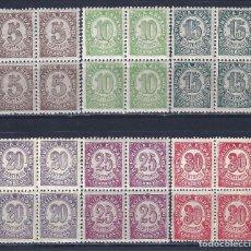 Sellos: EDIFIL 745-750 CIFRAS. 1938 (SERIE COMPLETA EN BLOQUES DE 4). MNH **. Lote 112415979