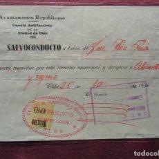 Sellos: ELDA(ALICANTE)COMITE LOCAL ANTIFASCISTA.VIÑETA MILICIAS 0´10 PTS.EXTRAORDINARIO DOCUMENTO 25/10/1936. Lote 112782183