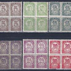 Sellos: EDIFIL 745-750 CIFRAS. 1938 (SERIE COMPLETA EN BLOQUES DE 4) (VARIEDAD...TAMAÑO DEL 20 CTS). MNH **. Lote 113209291