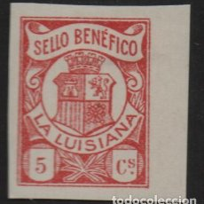 Sellos: LA LUISIANA, (SEVILLA). 5 CTS,SIN DENTAR -SELLO BENEFICO- ALLEPUZ Nº 1S, VER FOTO. Lote 114251547
