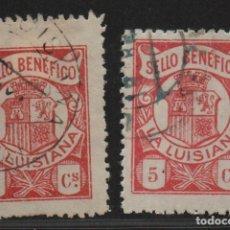 Sellos: LA LUISIANA, (SEVILLA). 5 CTS, DOS TONOS-SELLO BENEFICO- ALLEPUZ Nº 1, VER FOTO. Lote 114251595